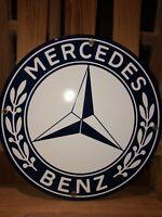 MERCEDES BENZ PORCELAIN GAS VINTAGE STYLE SERVICE STATION DEALERSHIP SIGN