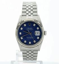 2001 Rolex Datejust watch #16234 steel 18K white gold sodalite diamond dial 36MM
