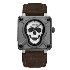 Skull Men's Watches Quartz Movement Gyay Alloy Case Brown Leather Watchband