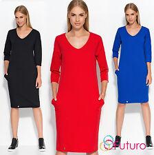 Ladies Work Office Casual Scoop Neck 3/4 Sleeve Knee Length Tunic Dress FA518