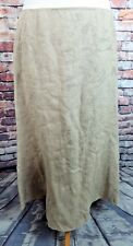 "LAURA ASHLEY lined skirt 14 waist 33"" midi beige floral embroidered 100% linen"