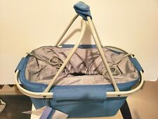 METRO COLLAPSIBLE FOLDING PICNIC BASKET INSULATED TOTE BLUE WITH ALUMINUM FRAME