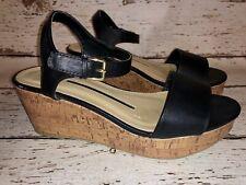 New Directions Joyce Women's Size 8.5 M Black Platform Wedges Sandals- Nice!