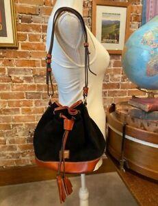 Dooney & Bourke Black Suede Small Drawstring Bag New Bucket