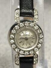 Vintage OMEGA 14K Gold 30 Diamond Watch Rare Concealed Backwind 4x (Serviced)