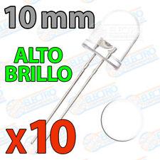 10x LED 10mm BLANCO Alto Ultra Brillo ultrabright 20mA diodo diode white