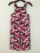 OshKosh B'Gosh Bib Overall Snow Pants Brown Pink Fuchsia Floral Girls Size 4