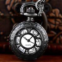 Antique Vintage Petals Quartz Pocket Watch Steampunk Necklace Chain Pendant Gift