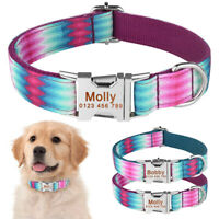 Adjustable Nylon Personalised Dog Collar Custom Engraved Name Tag Puppy XS S M L