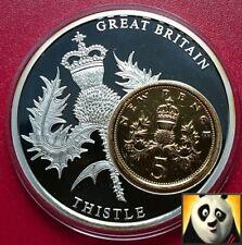 2009 badge of scotland thistle inlay médaille avec plaqué or 5p cinq penny + coa