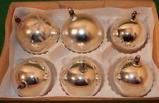 Konvolut 6 silberne Baumkugeln Christbaumkugeln Weihnachten Glas alt 1930-50