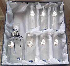 NUOVO! Cofanetto set di 6 bicchieri + bottiglia in cristallo e argento 925