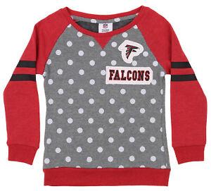 OuterStuff NFL Youth Girls Team Logo Polka Dot Print Crew, Atlanta Falcons