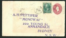 1899 Cover Massachusetts US to Annandale NSW Australia 2c Prestamped Embossed