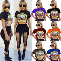 7Colors Women Cotton GUNS Roses Print Holes Crop Top Short Sleeve Tee Shirt Sexy