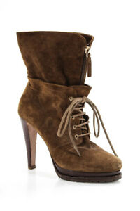 Giorgio Armani Womens Suede Lace Up High Heel Boots Brown Size 39.5 9.5