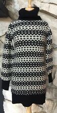 See by Chloe Black Off White Wool Nylon Turtleneck Long Sleeve Tunic Sweater  M