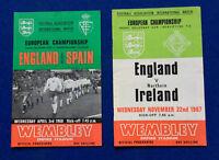 2 programmes 1967/8 European Championship England v Spain & Northern Ireland