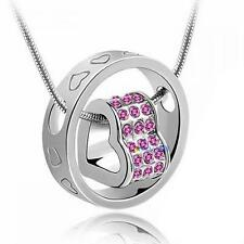 Heart Ring Crystal Rhinestone Necklace Pendant Love Gift For Wife Daughter #MC