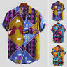 Mens Holiday Short Sleeve T-shirt Hawaiian Beach Floral Button Down Shirt Summer
