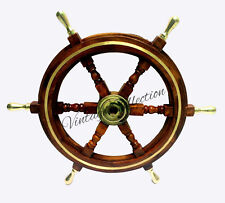 "24"" NAUTICAL WOODEN SHIP STEERING WHEEL PIRATE WOOD BRASS COLLECTIBLE DECOR"