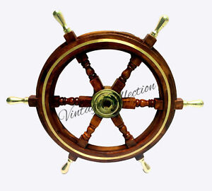 """24"""" NAUTICAL WOODEN SHIP STEERING WHEEL PIRATE WOOD BRASS COLLECTIBLE DECOR"""