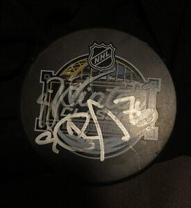 Sidney Crosby + Evgeni Malkin Signed 2011 Winter Classic Puck Penguins