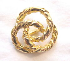 "4 -Beautiful VINTAGE 1-3/8"" GOLD TONE SWIRL TWISTED LOOK METAL Shank BUTTONS"