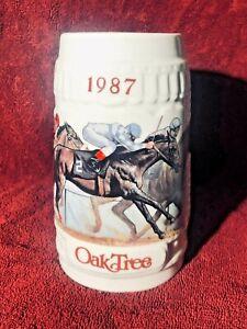 1987 OAK TREE HORSE RACING MUG STEIN