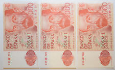Spain: 3 x 2000 Pesetas since 22 July 1980 in UNC Condition. Serial N: 2I841172