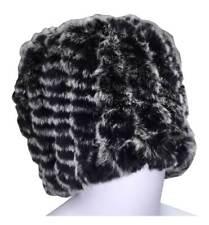 Northstar Women's Chinchilla Fur Fashion Beanie Hat, White/Black/Grey. H-10