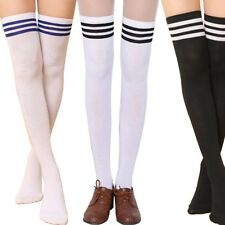 Women Over The Knee Socks Plain Striped High Thigh Long Stripe Socks Stockings