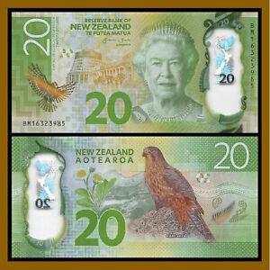 New Zealand 20 Dollars, 2016 P-New Karearea Bird Queen Elizabeth II  Polymer Unc