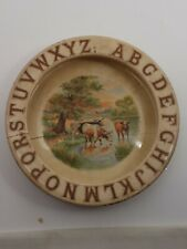 Child's Vintage 1930's Soup/Cereal Bowl Western Theme With Alphabet Border