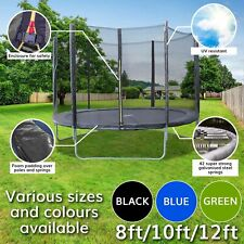 4.5ft 8ft 10ft 12ft Trampoline + FREE Safety Net Enclosure Outdoor Play Kids Fun