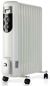 Large 2500W 2.5kW 11 Fin Portable Electric Slim Oil Filled Radiator Heater White