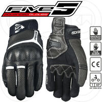 GUANTI MOTO STRADALI-TOURING FIVE RS2 BLACK NERO / BIANCO IN PELLE PIENO FIORE