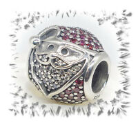 AUTHENTIC PANDORA silver CHARM BEAD 796385czr Sparkling Jolly Santa claus new