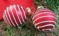 ★christbaumkugel weihnachtsohrringe glas rot glitzerspirale vergoldete haken 3cm