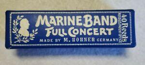 Vintage Marine Band Full Concert C Harmonica M. Hohner Germany In Box
