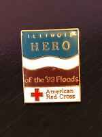 Vintage Collectible Hero Amer Red Cross '93 Flood Illinois Metal Pin Back