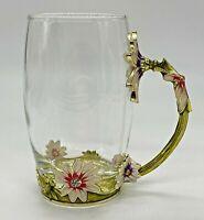 "ARC of France Clear Glass Tea Coffee Cup Mug Jeweled Enamel Floral Flowers 5"""