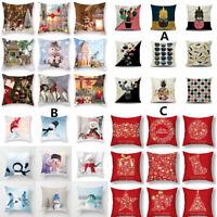 Christmas Pillowcase Snowman Pillow Case Square Pillow Sofa Bed Pillow Cushions