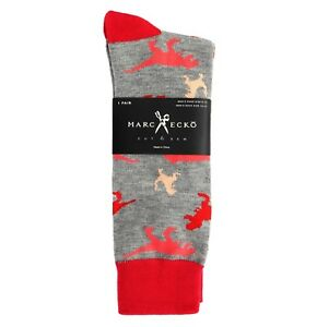"Marc Ecko ""Dinosaur"" Gray Novelty Casual Dress Socks Men's Shoe Size 6-12"