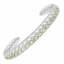 2 Ct Natural Peridot Cut-out Cuff Bracelet in Sterling Silver