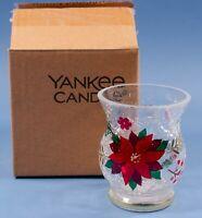 Yankee Candle Crackle Glass Poinsettia Votive Holder 1680322 NIB