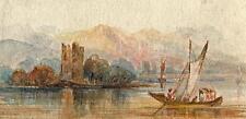 LAGO ITALIANO rovinare & BARCA dipinto ad Acquerello c1880 IMPRESSIONISTA montagne