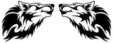 vinyl car side stickers tribal wolf head flames graphics decals x2 motorbike vw