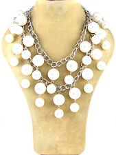2 Layer Silver Toned White Pearl Dangling Necklace With Matching Earrings