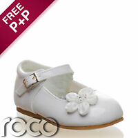 Baby Girls White Shoes Christening Wedding Flower Girl Shoes Infant 1 - 6